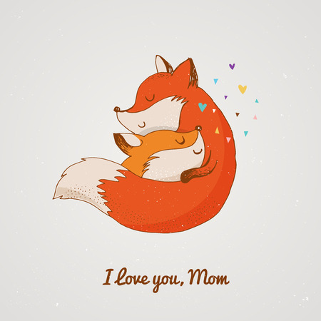 Fox illustration - greeting cards, Mothers day