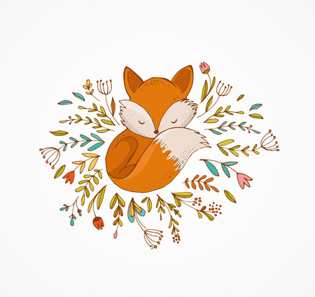 cute dog: Fox sleeping on the flowers - cute, lovely illustration and greetin card
