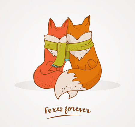 happy valentines day: Fox illustration - greeting cards, Valentines day