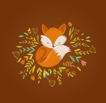 foxy: Fox illustration - greeting cards Illustration