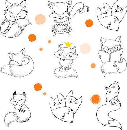 Personajes Fox lindo, precioso ilustraciones - tarjetas de felicitación Foto de archivo - 50385983