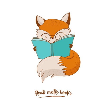 hand drawing: Smart Fox reading book - greeting cards