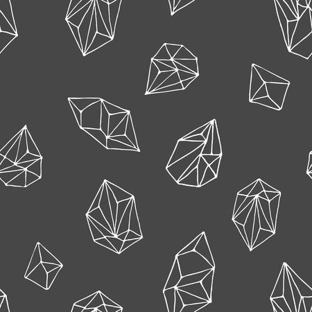 Crystals - seamless hand drawn modern pattern