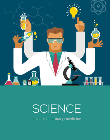 multitasking: Multitasking Scientist making research in the lab