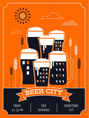 lanscape: Beer festival in the city, town. Poster of event Illustration