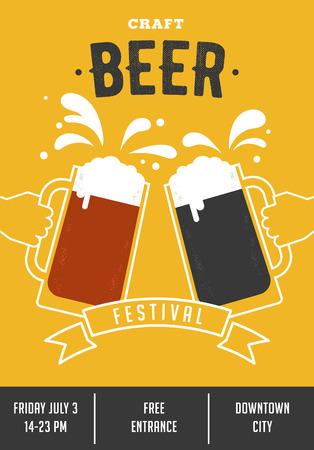 festiwal piwa. Plakat imprezy z okularami i rąk