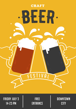 Beer festival. Poster of event with glasses and hands Illustration