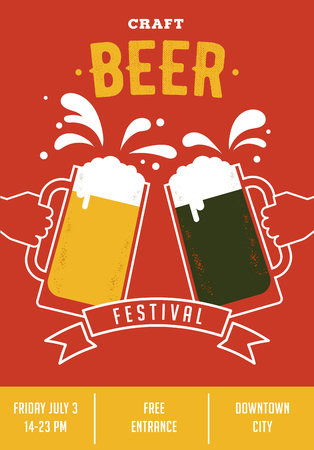 mug of ale: Beer festival. Poster of event with glasses and hands Illustration