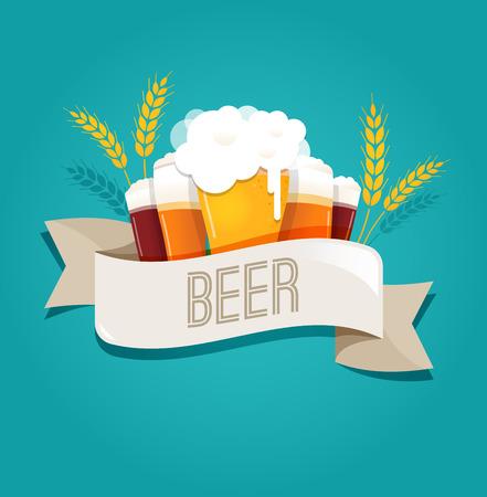 Fête de la bière, fest Octobre. affiche, Menu et le fond Vecteurs