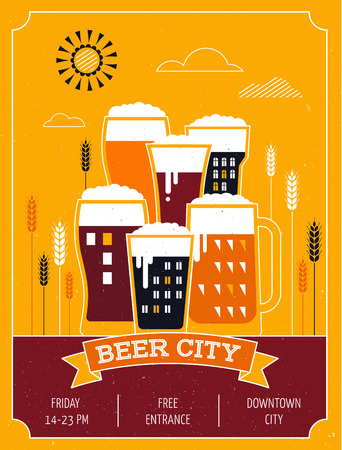 fest: Beer festival in the city, town. Poster of event Illustration