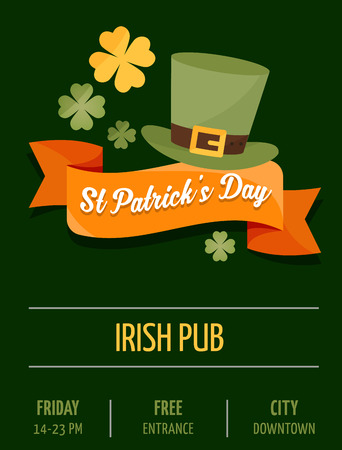 st  patrick day: St.  Patrick Day poster, card and menu Illustration