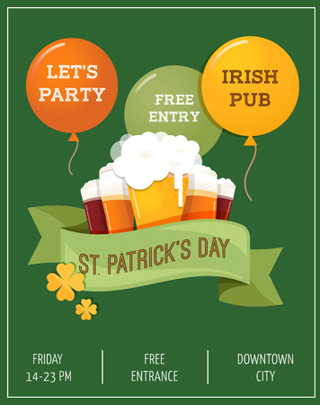 St.  Patrick Day poster, card and menu Illustration