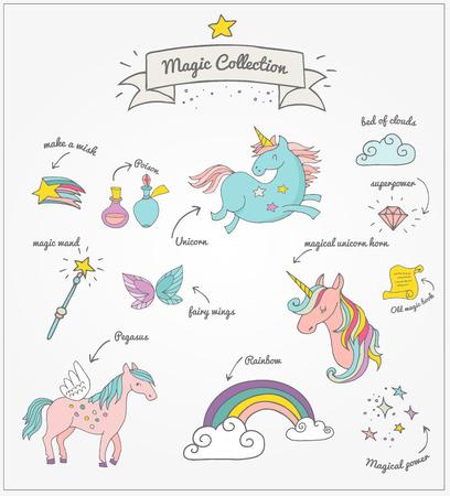 die magische Hand gezeichnet Doodle Sammlung mit Einhorn, Regenbogen und Feenflügeln Illustration