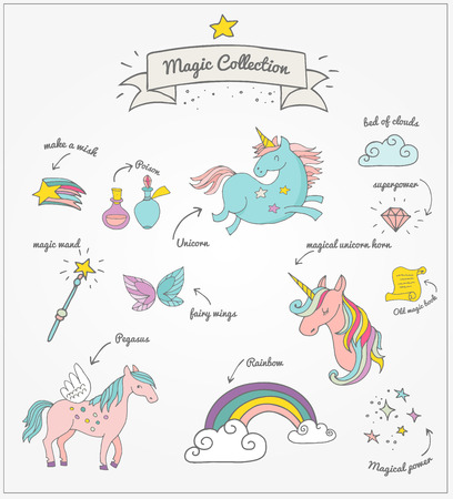 the Magic hand drawn doodle collection with unicorn, rainbow and fairy wings Illustration