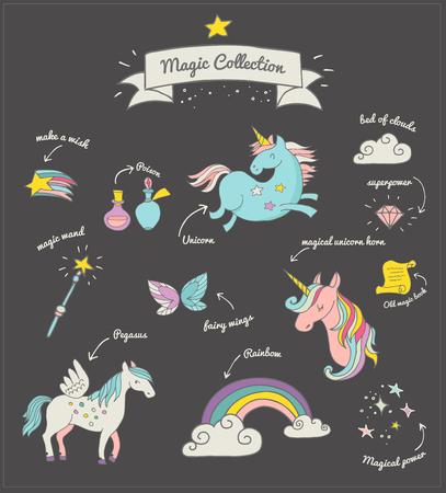 de Magic hand getrokken doodle collectie met eenhoorn, regenboog en fairy vleugels