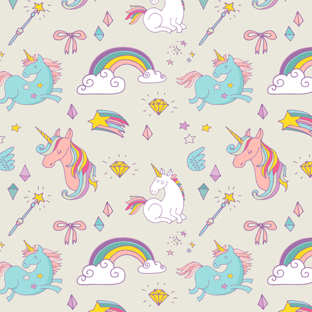 de Magic met de hand getekende patroon met eenhoorn, regenboog in pastelkleuren