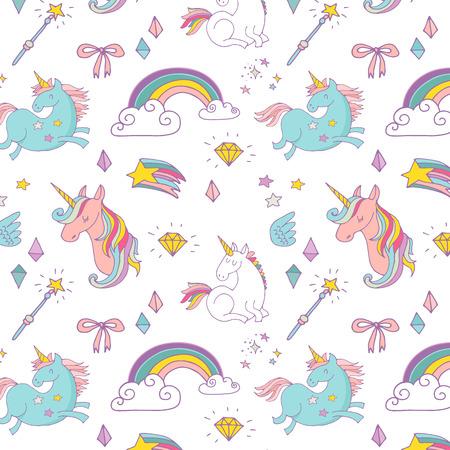 arco iris: el patrón dibujado a mano mágica con el unicornio, arco iris en colores pastel Vectores