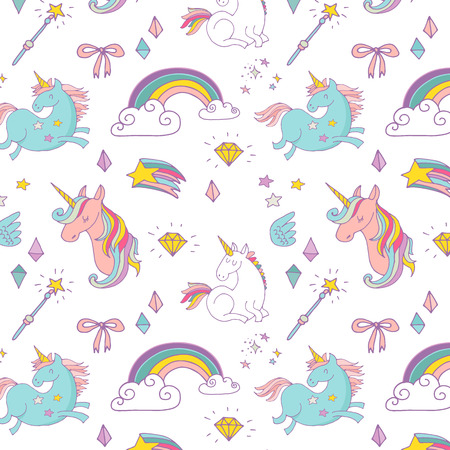 design pattern: the Magic hand drawn pattern with unicorn, rainbow in pastel colors