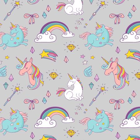 el patrón dibujado a mano mágica con el unicornio, arco iris en colores pastel