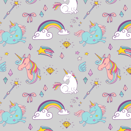 fortune: the Magic hand drawn pattern with unicorn, rainbow in pastel colors