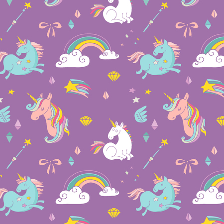 the Magic hand drawn pattern with unicorn, rainbow in pastel colors