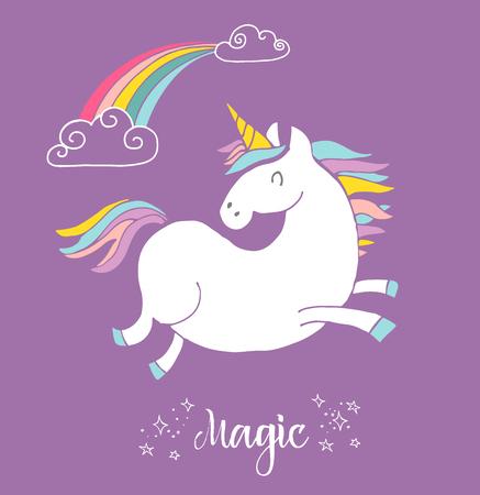 arcoiris: lindo Unicon magia y el cartel del arco iris, tarjeta de cumpleaños saludo Vectores