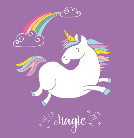 cute magic unicon and rainbow poster, greeting birthday card