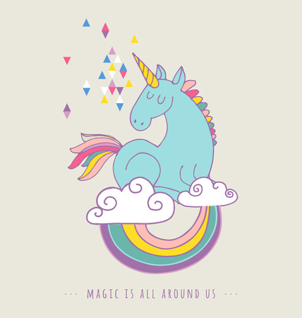 persona alegre: lindo Unicon magia y el cartel del arco iris, tarjeta de cumpleaños saludo Vectores