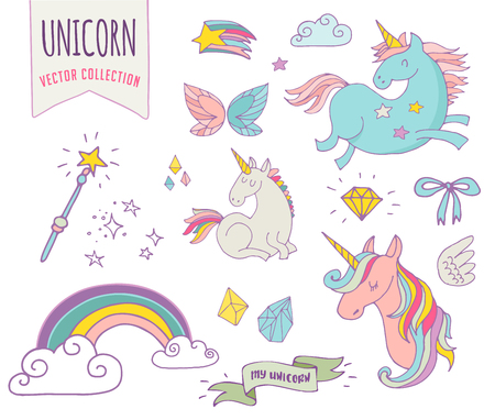 cute magic collection with unicon, rainbow, fairy wings and stars Vectores