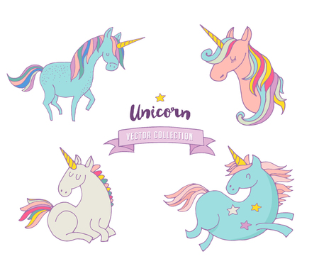 monas: Set of magic unicons - cute hand drawn icons, illustrations Vectores