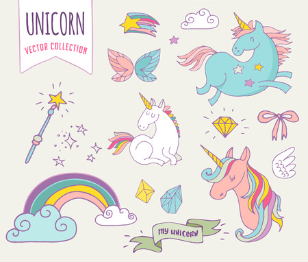 witch hat: cute magic collection with unicon, rainbow, fairy wings and stars Illustration
