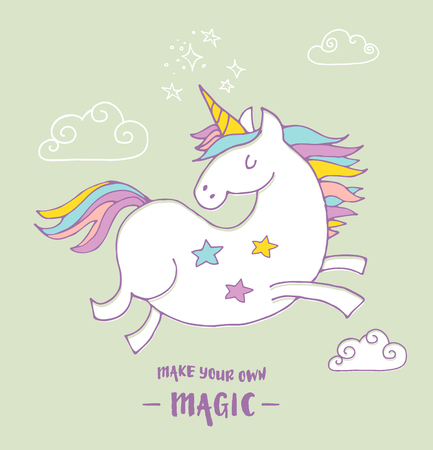 dimond: cute magic unicon and rainbow poster, greeting birthday card