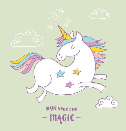 mago: lindo Unicon magia y el cartel del arco iris, tarjeta de cumpleaños saludo Vectores