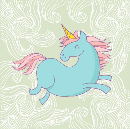 dimond: cute magic unicon and rainbow poster, greeting birthday card
