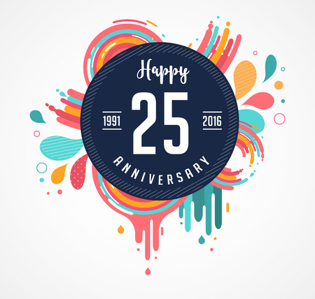 happy anniversary: anniversary - abstract background with icons, color splashes and elements