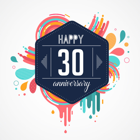 40th: anniversary - abstract background with icons, color splashes and elements