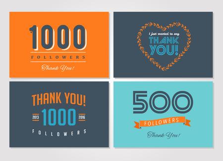 Dank je volgelingen, badges, kaarten en etiketten Vector Illustratie