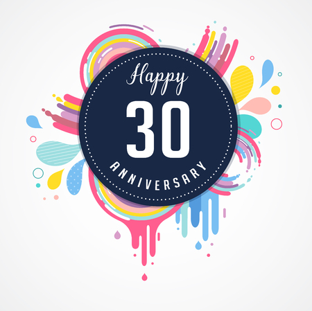 30 years: anniversary - abstract background with icons, color splashes and elements