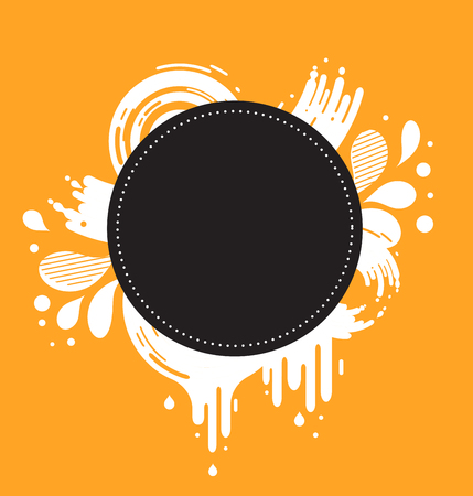 text space: abstract orange and black background with text space and color splashes