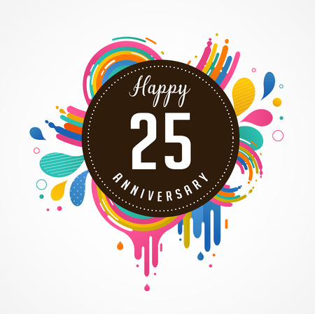 25 to 30: anniversary - abstract background with icons, color splashes and elements