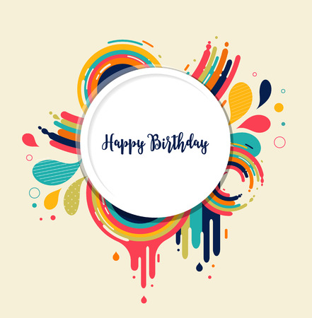 Happy Birthday Card With Color Splashes And Text Space Royalty Free