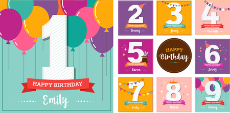 baby shower party: Happy Birthday set of cute greeting cards