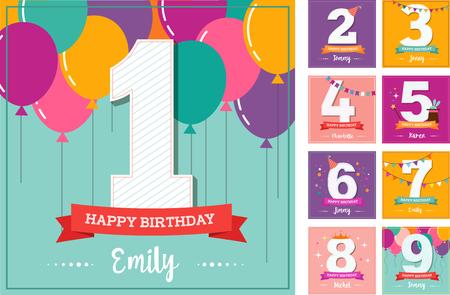 niños con pancarta: un feliz cumpleaños, tarjeta de felicitación con globos de colores
