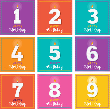 birth day: Happy Birthday one, colorful greeting card with candles