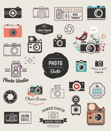 Photographer, cameras, photo studio elements, icons collection Vettoriali