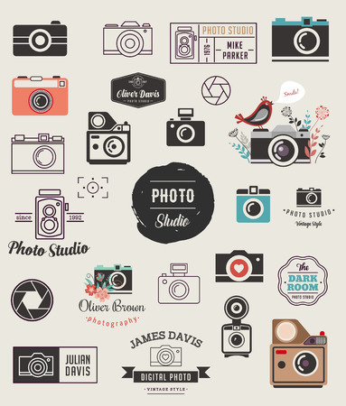 Photographer, cameras, photo studio elements, icons collection Çizim