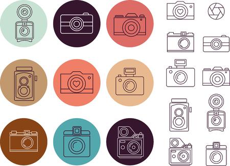 macchina fotografica: elemento d'arte Telecamere linea, icone set Vettoriali