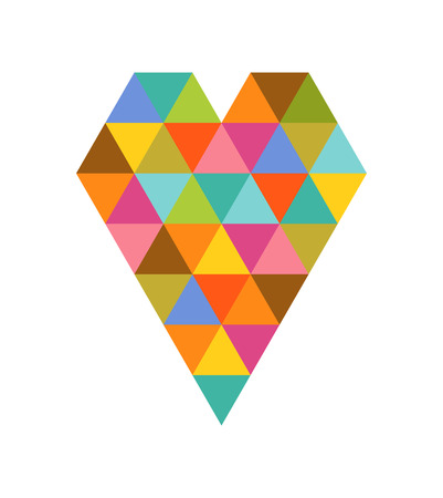colorful heart: Geometric colorful heart icon for Valentines day