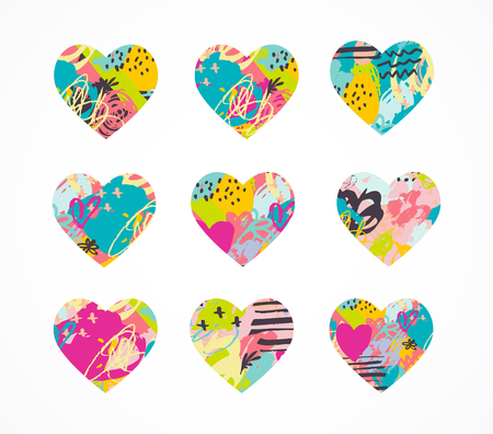 Hand drawn, painted vector colorful heart icons collection Vettoriali
