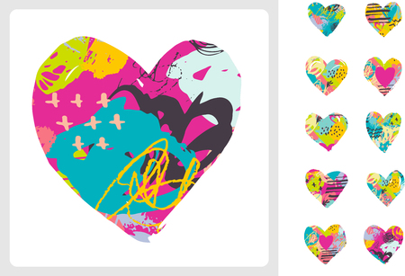 colorful grunge: Hand drawn, painted vector colorful heart icons collection Illustration